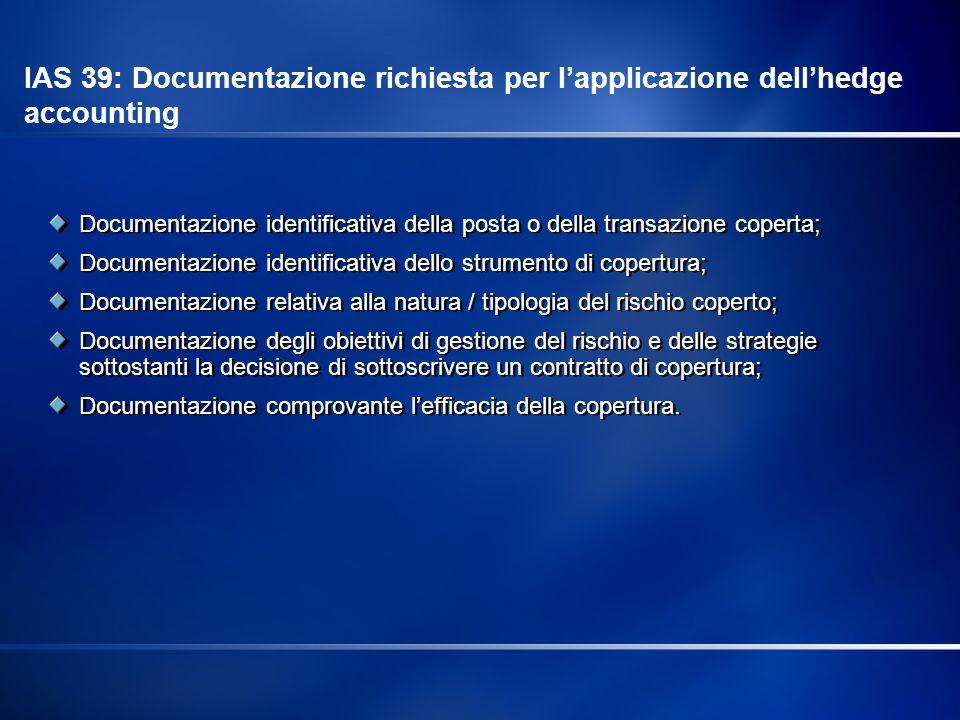 IAS 39: Documentazione richiesta per l'applicazione dell'hedge accounting