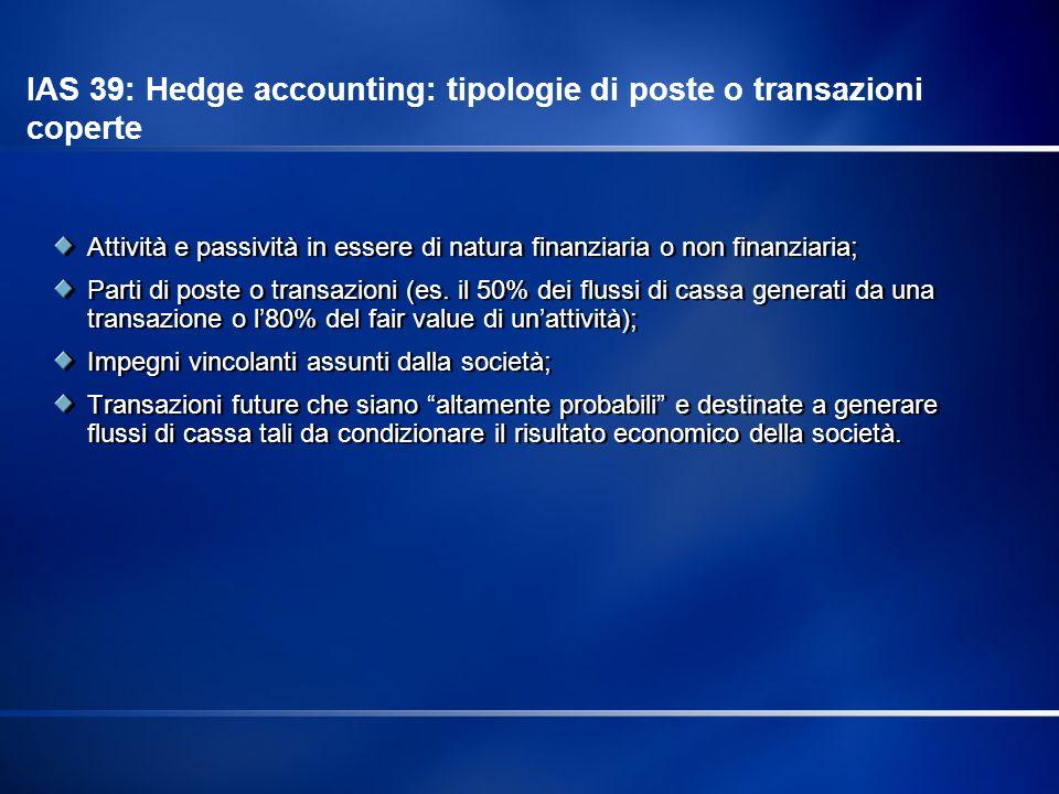 IAS 39: Hedge accounting: tipologie di poste o transazioni coperte