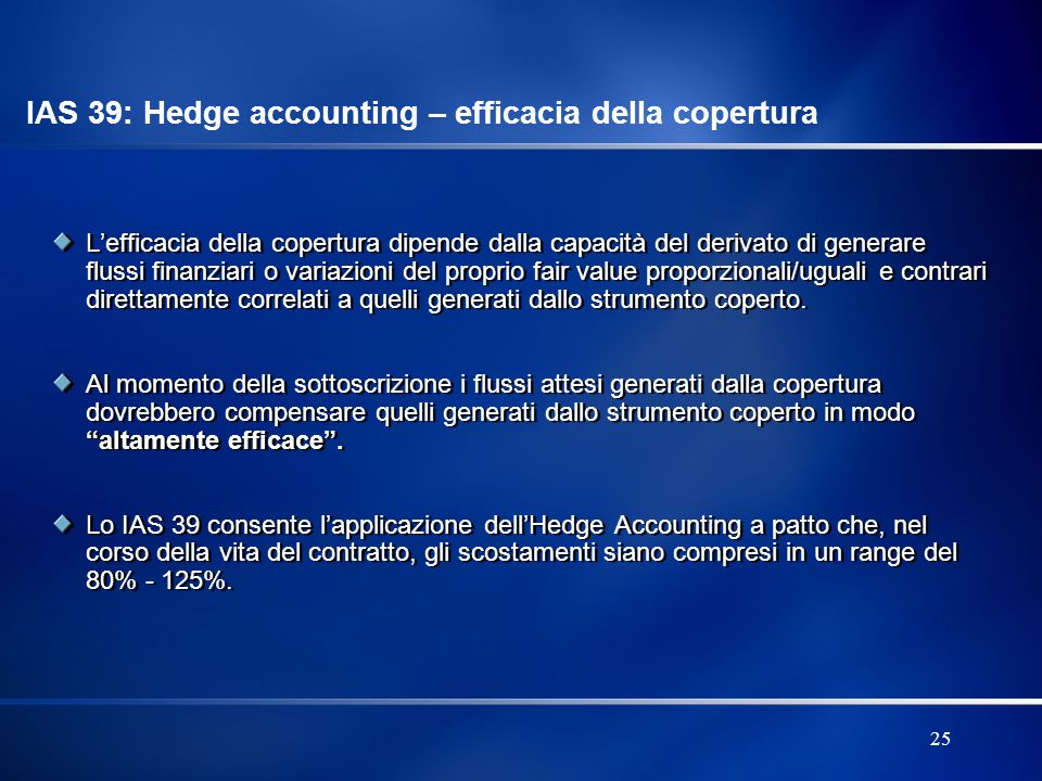 IAS 39: Hedge accounting – efficacia della copertura