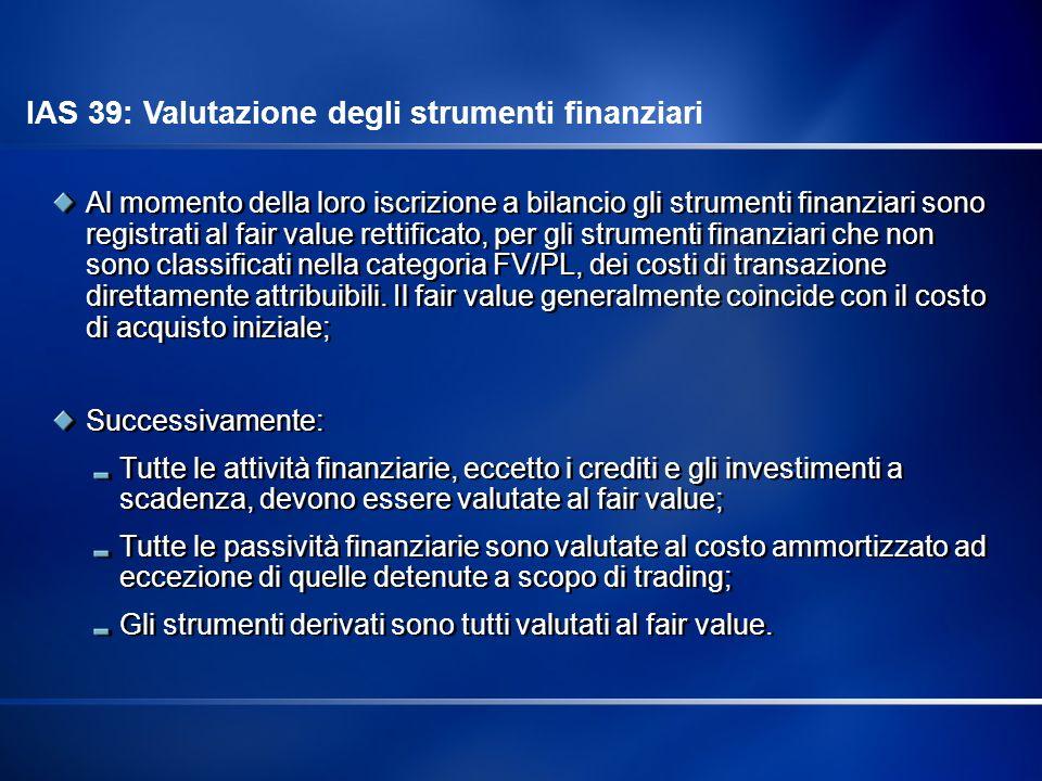 IAS 39: Valutazione degli strumenti finanziari