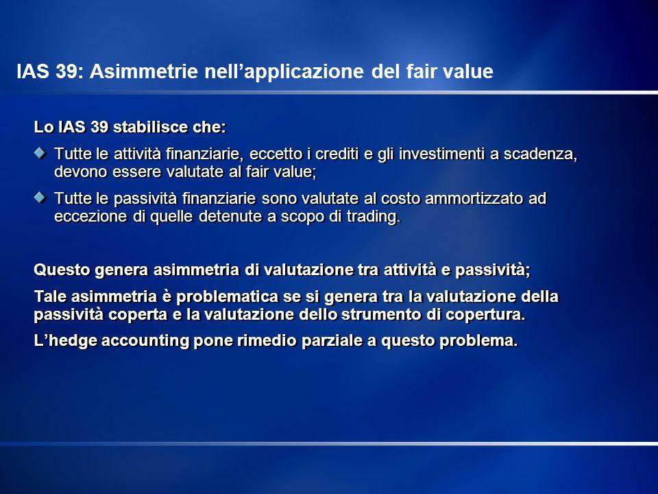 IAS 39: Asimmetrie nell'applicazione del fair value