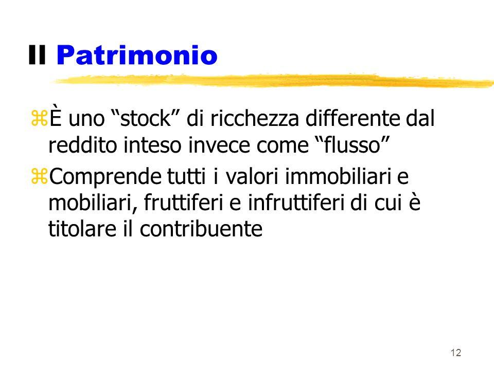 Il Patrimonio È uno stock di ricchezza differente dal reddito inteso invece come flusso