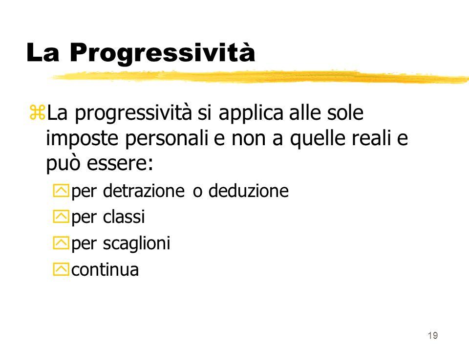 La Progressività La progressività si applica alle sole imposte personali e non a quelle reali e può essere: