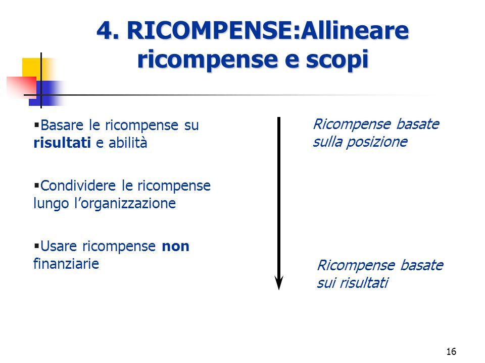 4. RICOMPENSE:Allineare ricompense e scopi