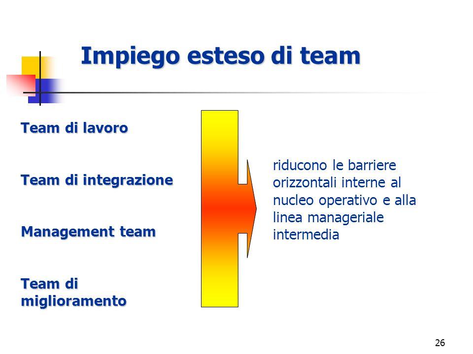 Impiego esteso di team Team di lavoro Team di integrazione