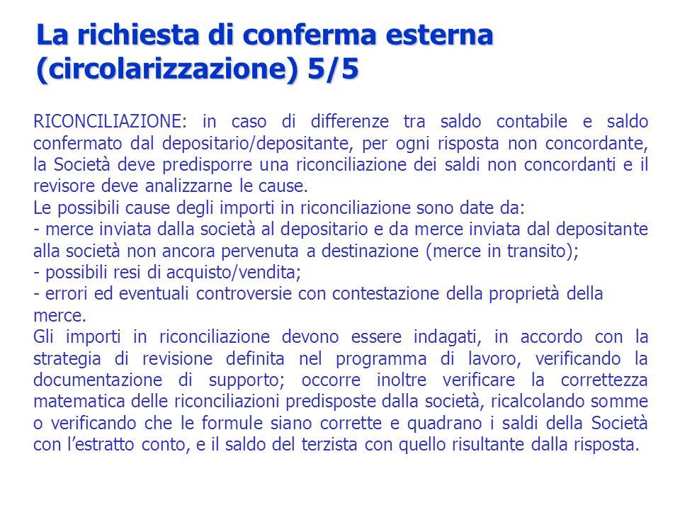 La richiesta di conferma esterna (circolarizzazione) 5/5