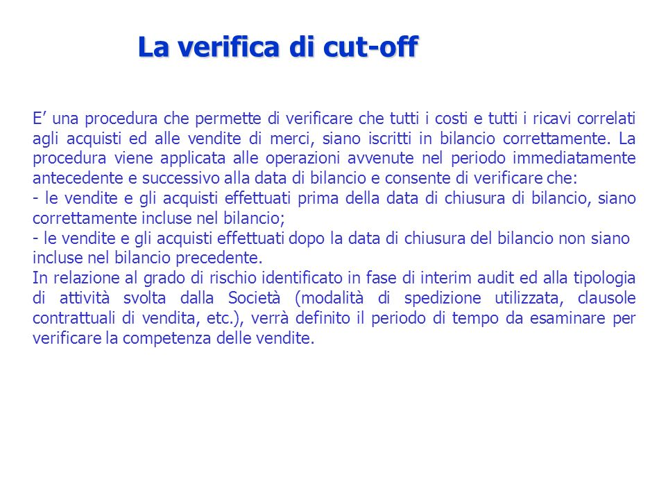 La verifica di cut-off