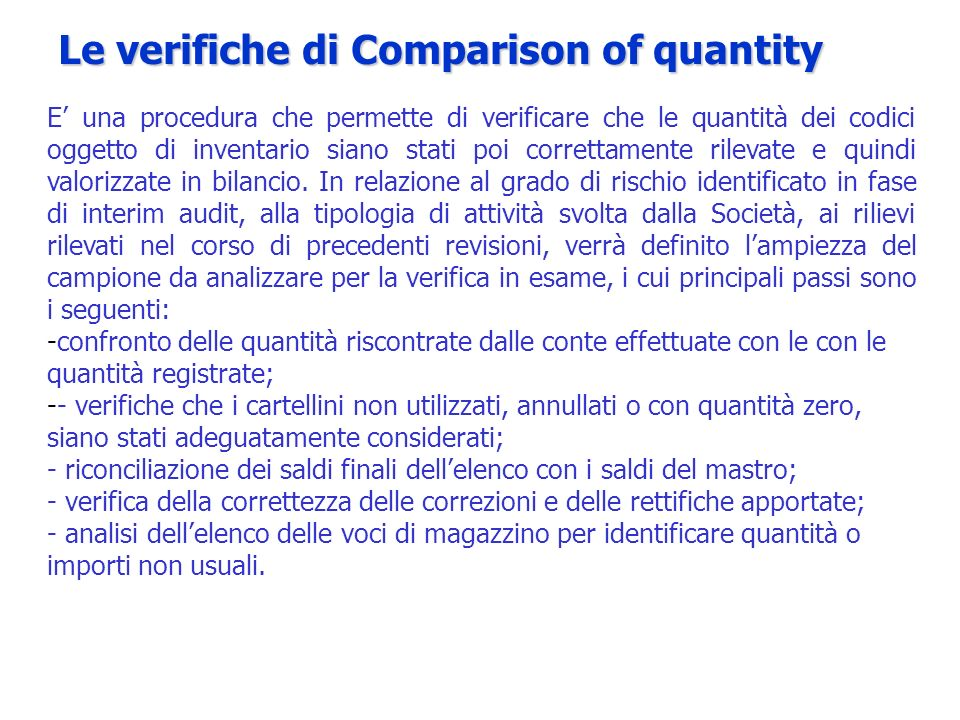 Le verifiche di Comparison of quantity