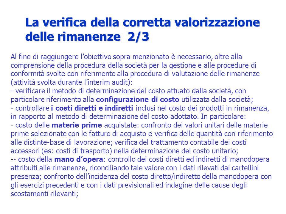 La verifica della corretta valorizzazione delle rimanenze 2/3