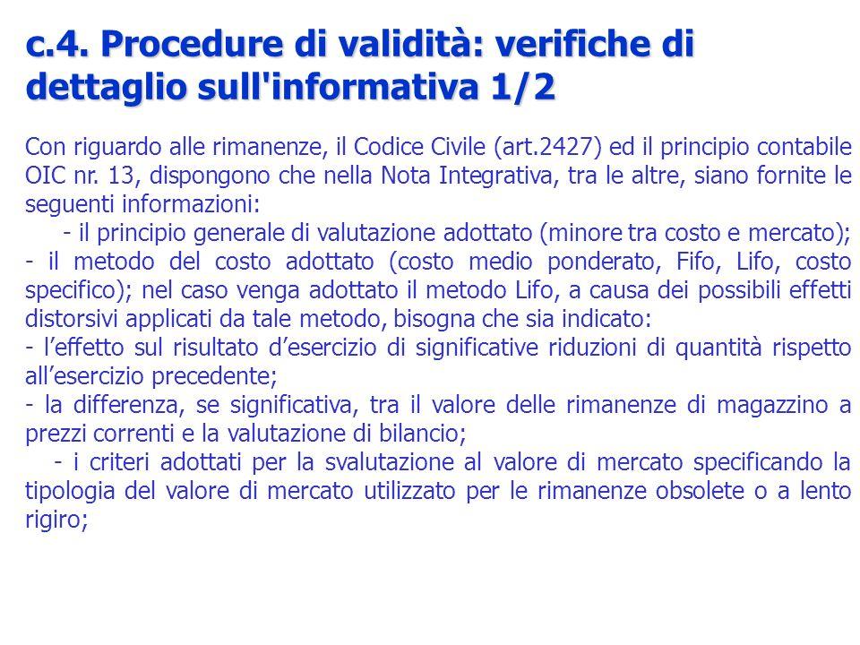 c.4. Procedure di validità: verifiche di dettaglio sull informativa 1/2