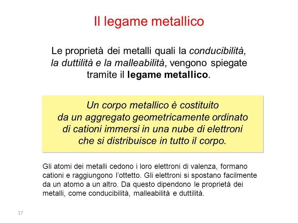 Il legame metallico Le proprietà dei metalli quali la conducibilità, la duttilità e la malleabilità, vengono spiegate tramite il legame metallico.