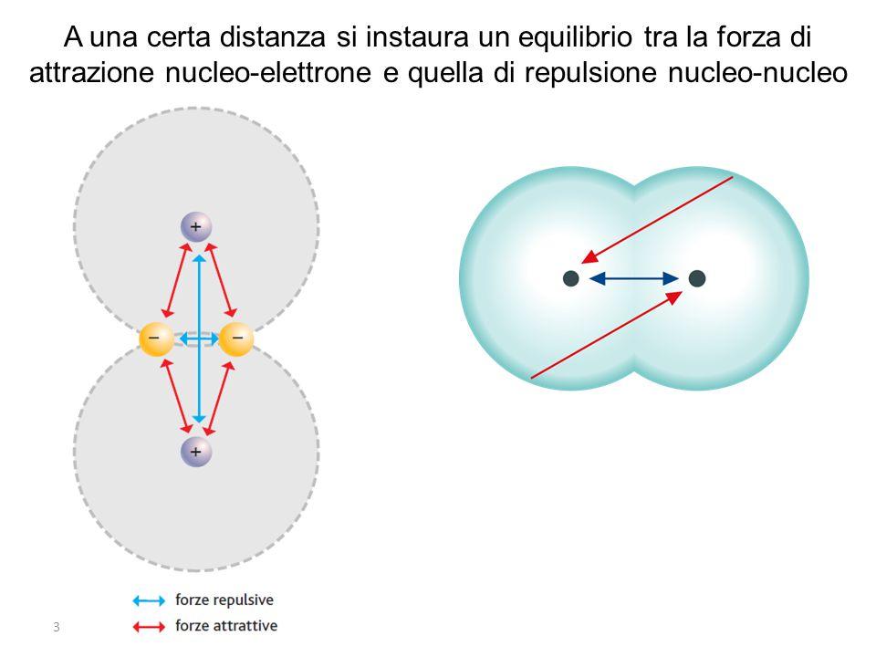 A una certa distanza si instaura un equilibrio tra la forza di attrazione nucleo-elettrone e quella di repulsione nucleo-nucleo
