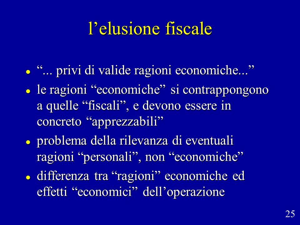 l'elusione fiscale ... privi di valide ragioni economiche...