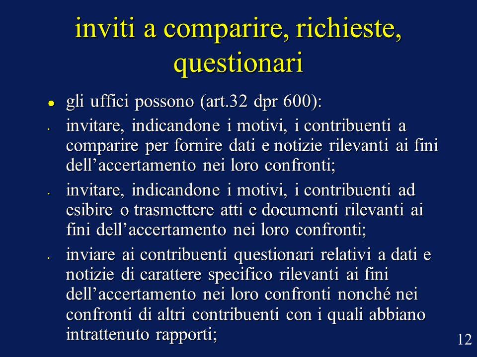 inviti a comparire, richieste, questionari
