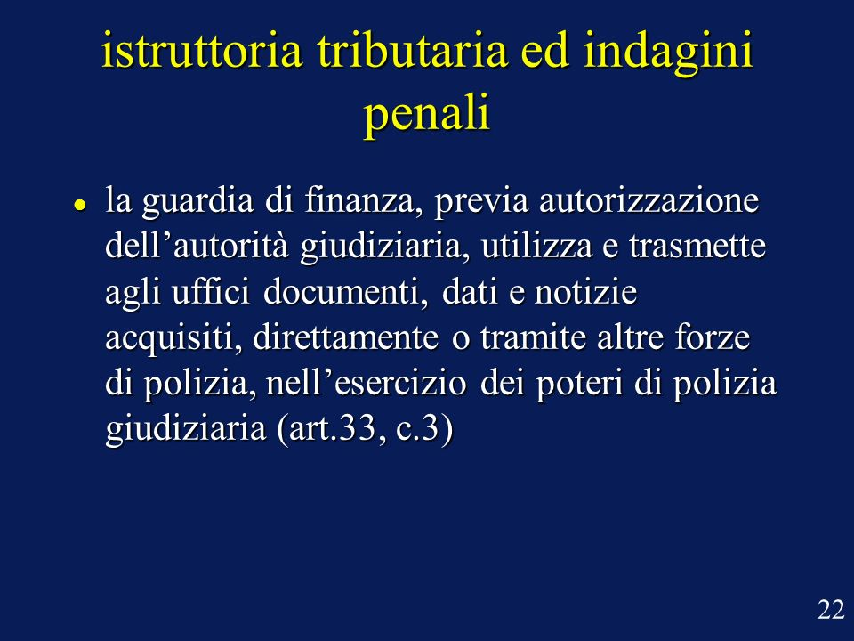 istruttoria tributaria ed indagini penali