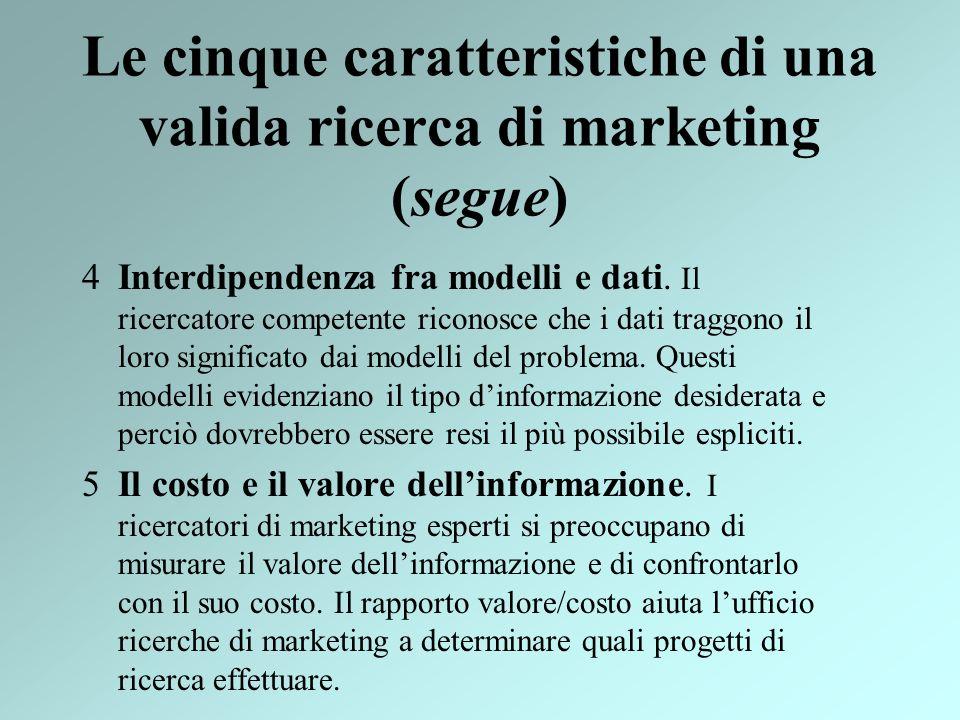 Le cinque caratteristiche di una valida ricerca di marketing (segue)