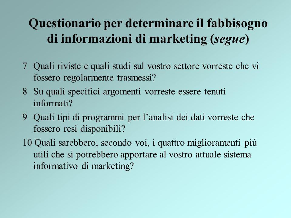 Questionario per determinare il fabbisogno di informazioni di marketing (segue)