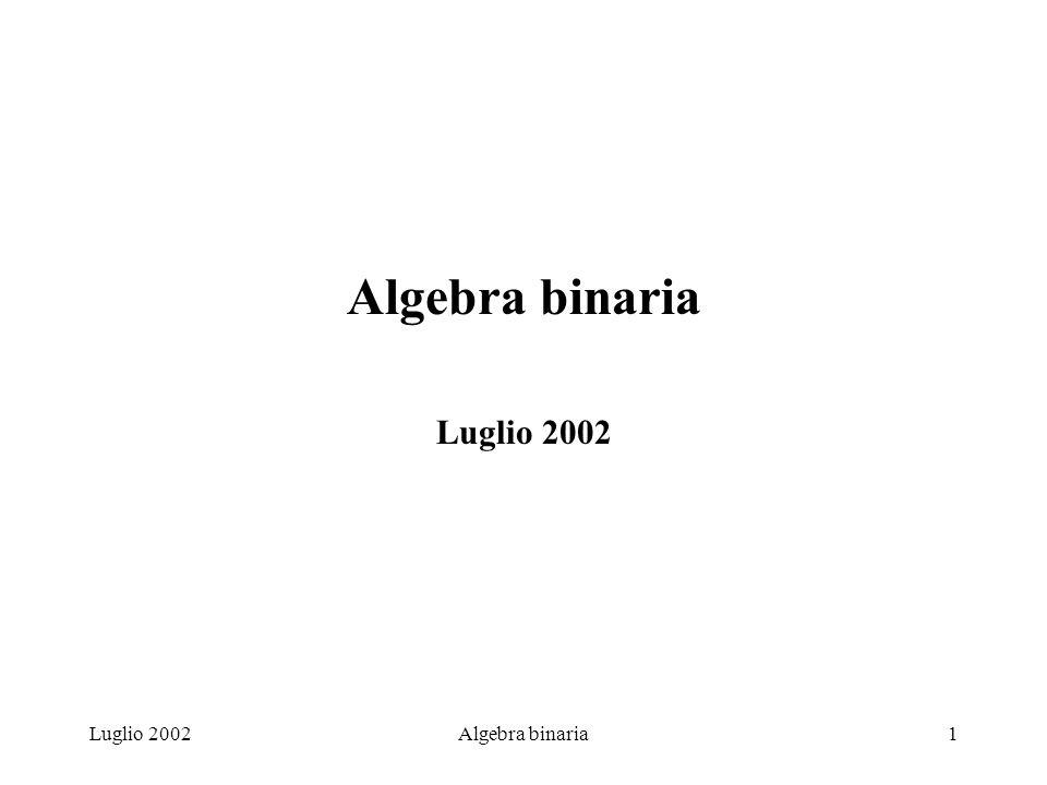Algebra binaria Luglio 2002 Luglio 2002 Algebra binaria