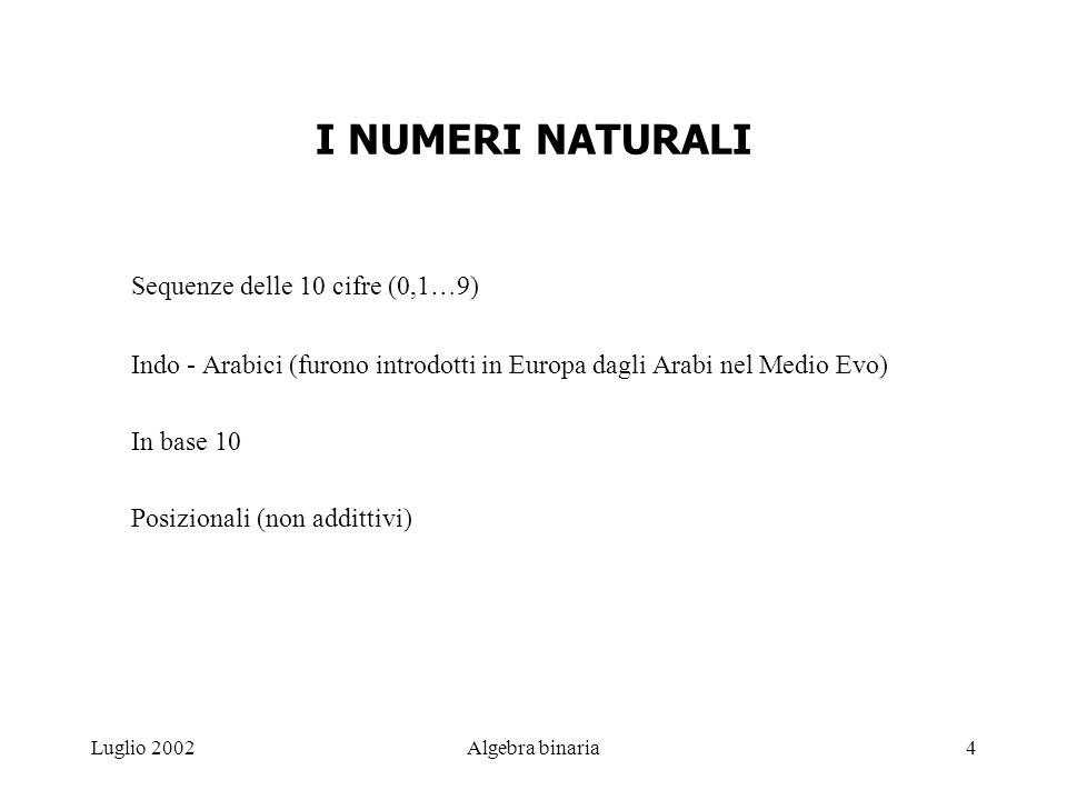 I NUMERI NATURALI Sequenze delle 10 cifre (0,1…9)