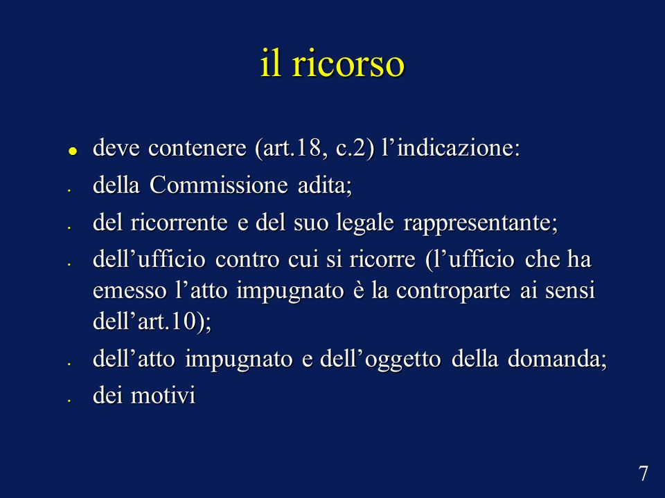 il ricorso deve contenere (art.18, c.2) l'indicazione: