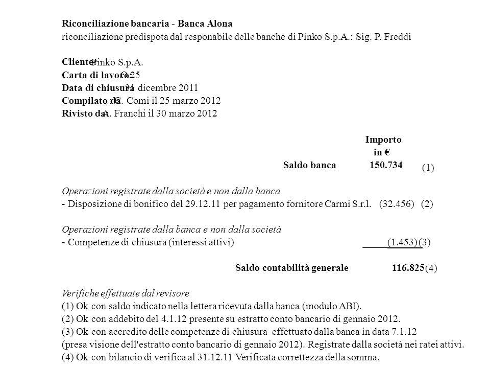 Riconciliazione bancaria - Banca Alona
