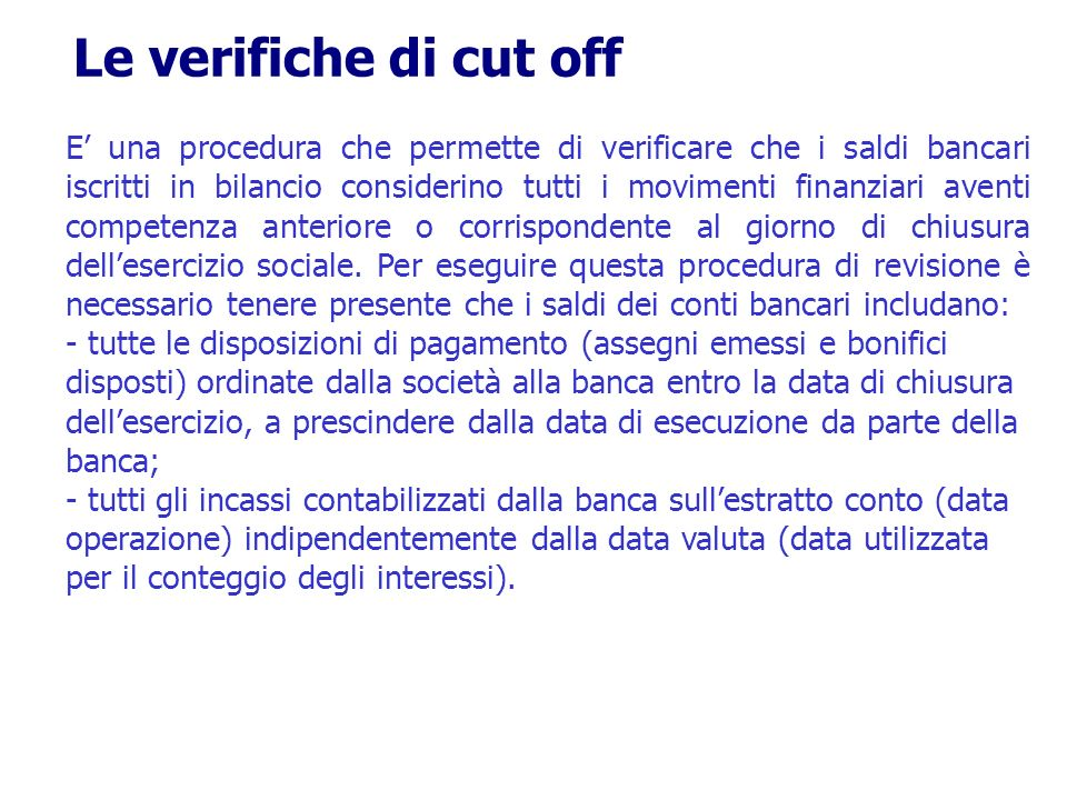 Le verifiche di cut off