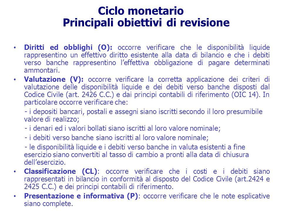 Ciclo monetario Principali obiettivi di revisione