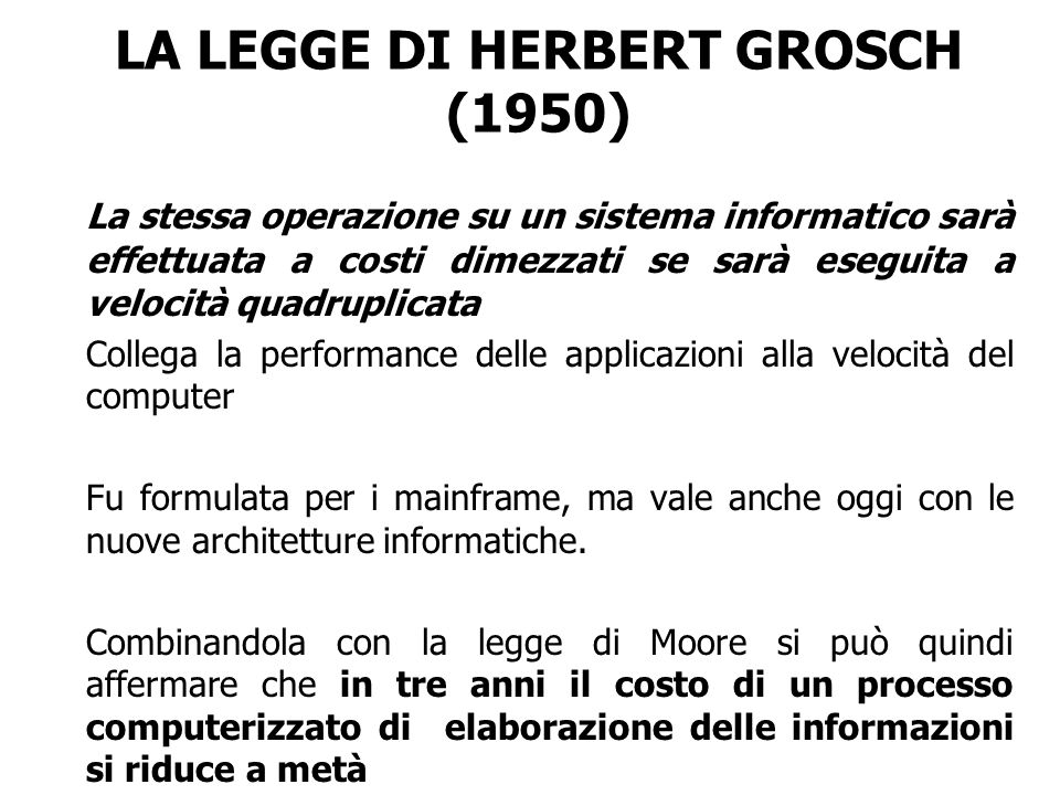 LA LEGGE DI HERBERT GROSCH (1950)