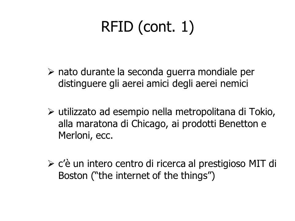 RFID (cont. 1) nato durante la seconda guerra mondiale per distinguere gli aerei amici degli aerei nemici.