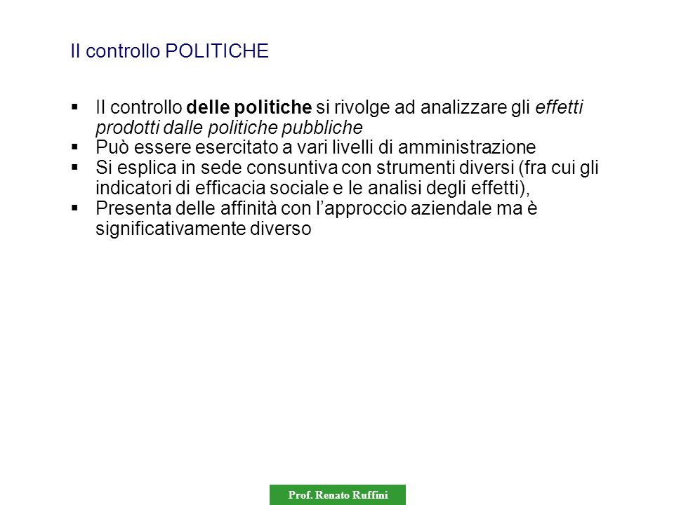 Il controllo POLITICHE