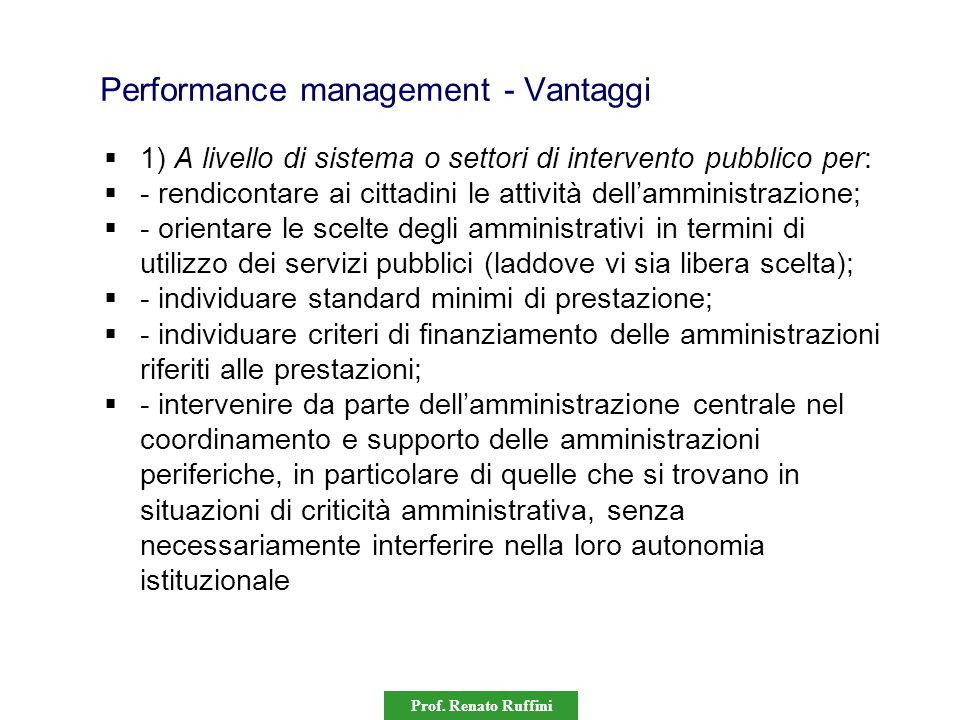 Performance management - Vantaggi