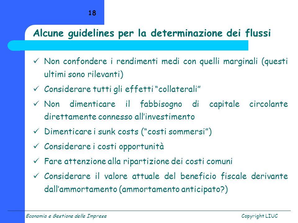 Alcune guidelines per la determinazione dei flussi