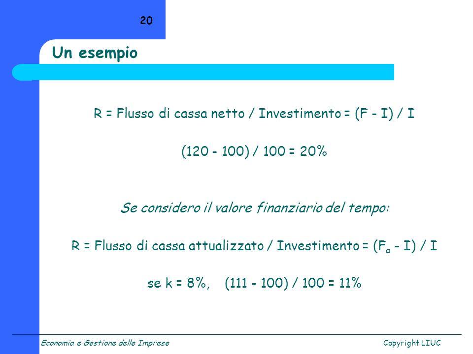 Un esempio R = Flusso di cassa netto / Investimento = (F - I) / I