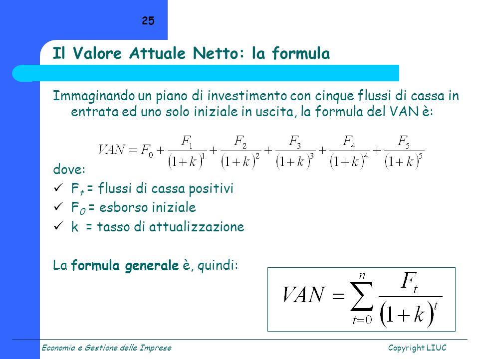 Il Valore Attuale Netto: la formula