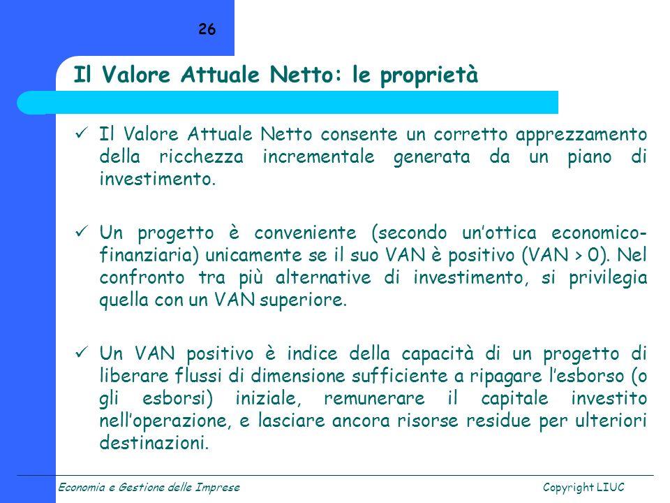 Il Valore Attuale Netto: le proprietà
