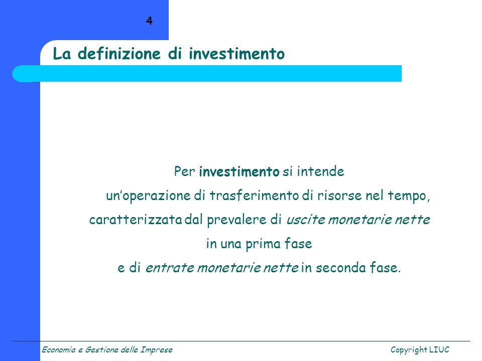 La definizione di investimento