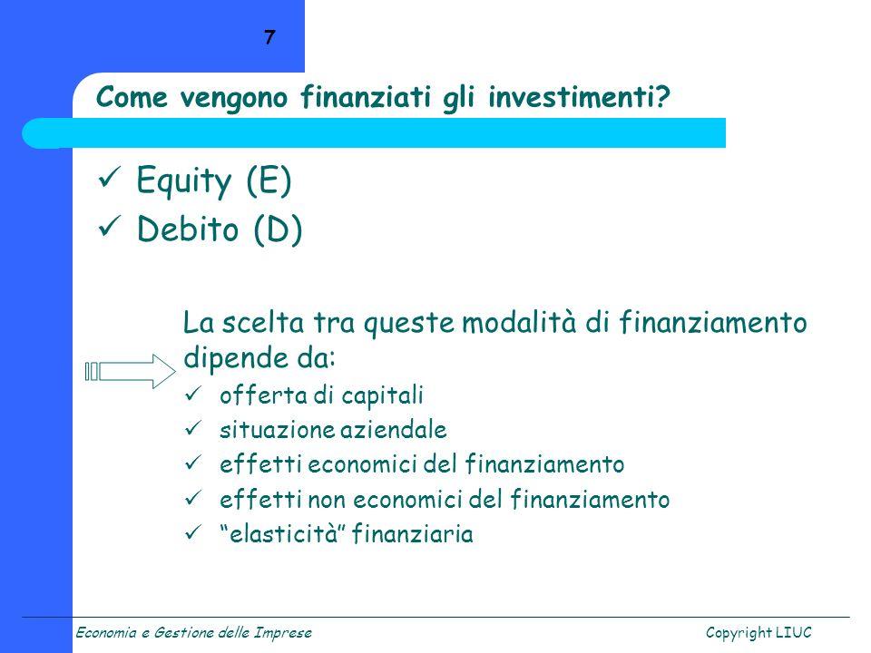 Come vengono finanziati gli investimenti