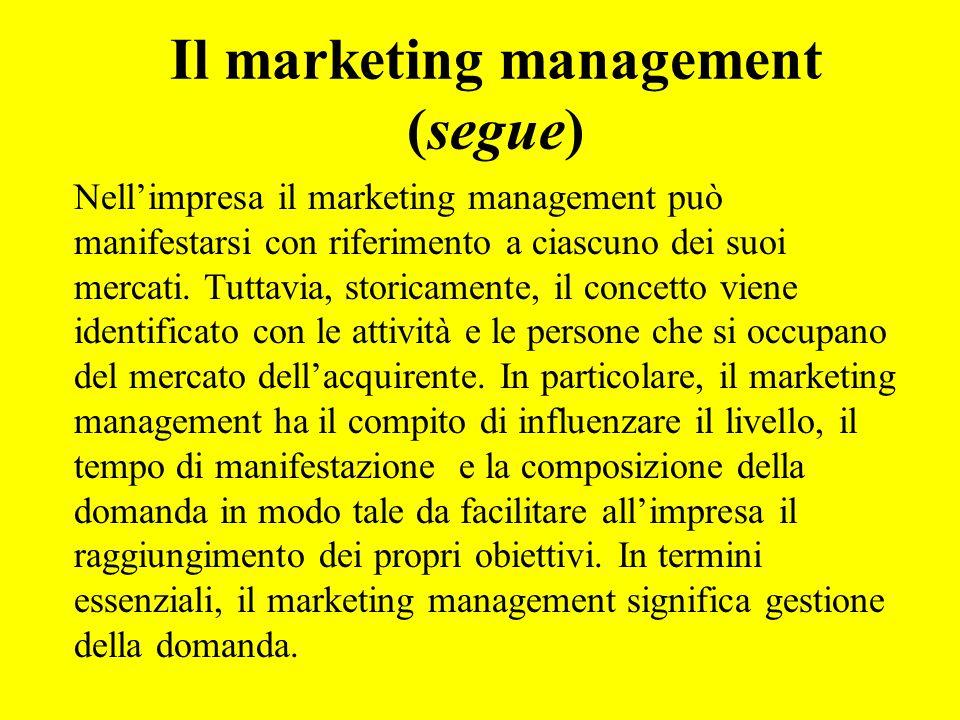 Il marketing management (segue)