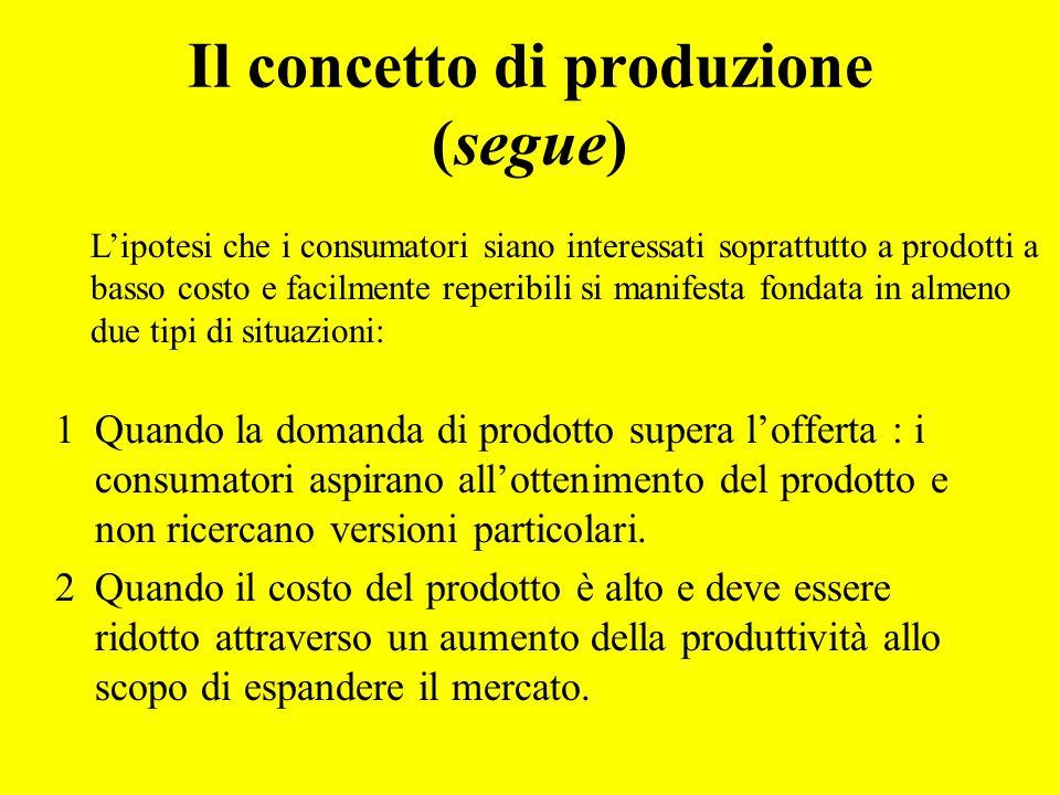 Il concetto di produzione (segue)