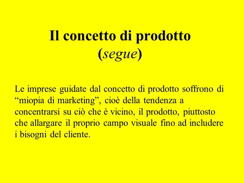 Il concetto di prodotto (segue)