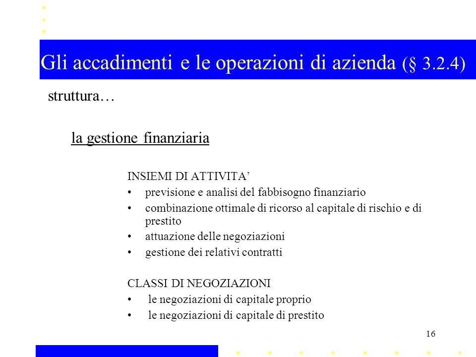 Gli accadimenti e le operazioni di azienda (§ 3.2.4)