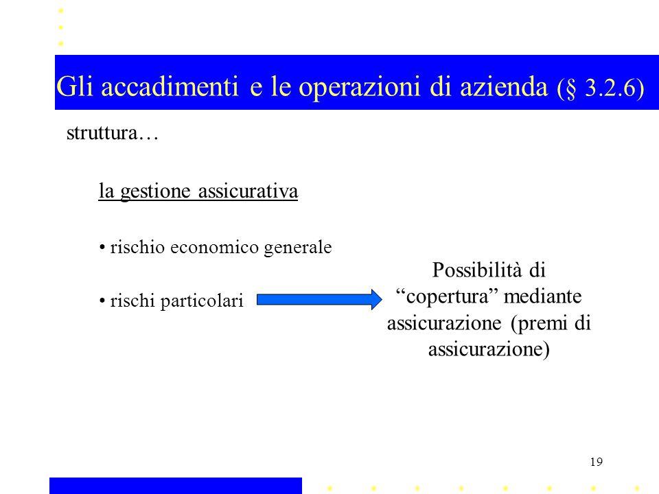 Gli accadimenti e le operazioni di azienda (§ 3.2.6)