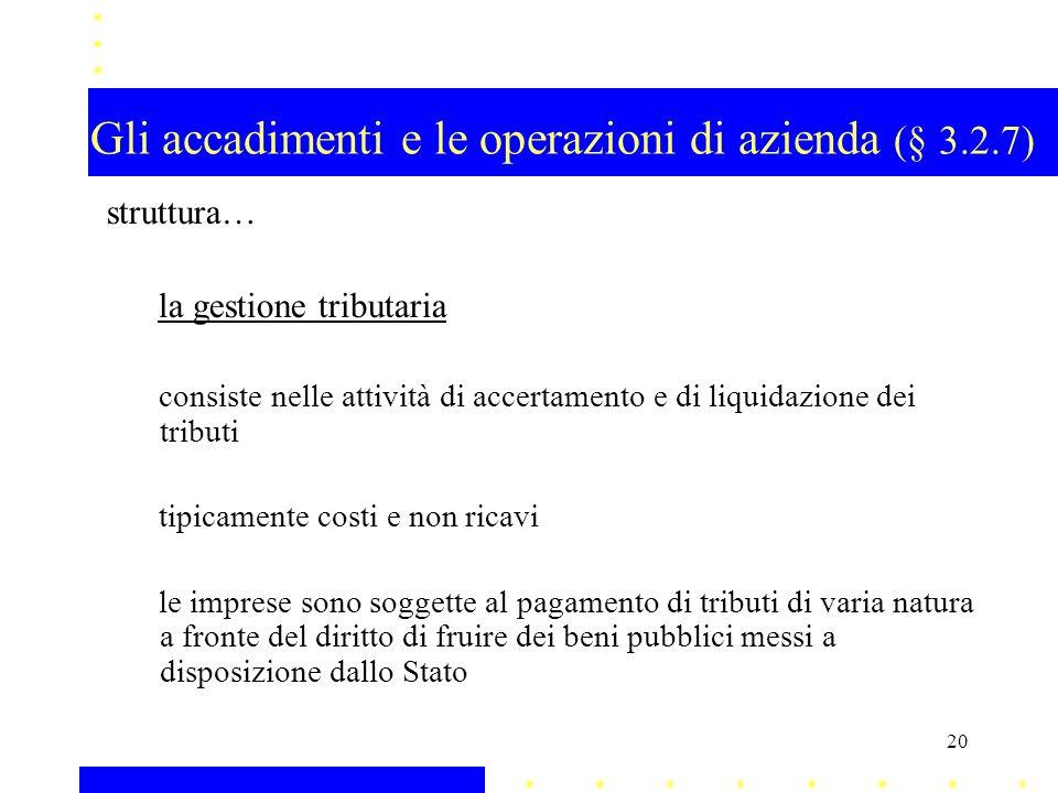 Gli accadimenti e le operazioni di azienda (§ 3.2.7)