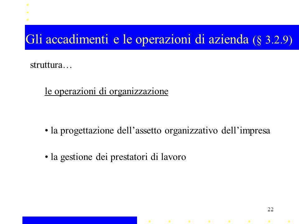 Gli accadimenti e le operazioni di azienda (§ 3.2.9)