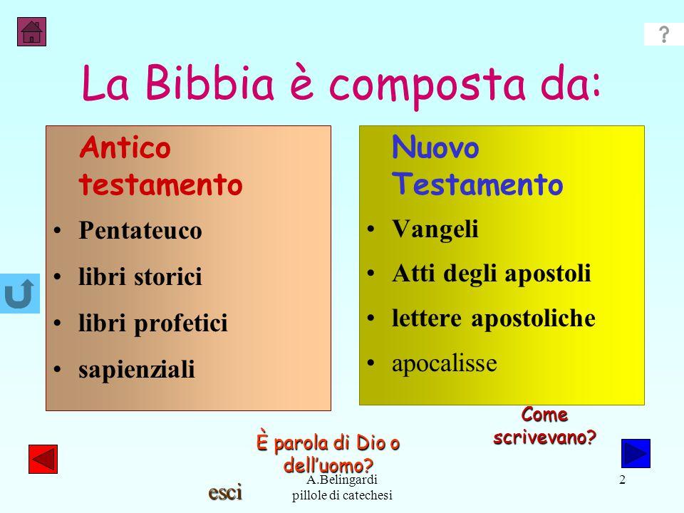 La Bibbia è composta da: