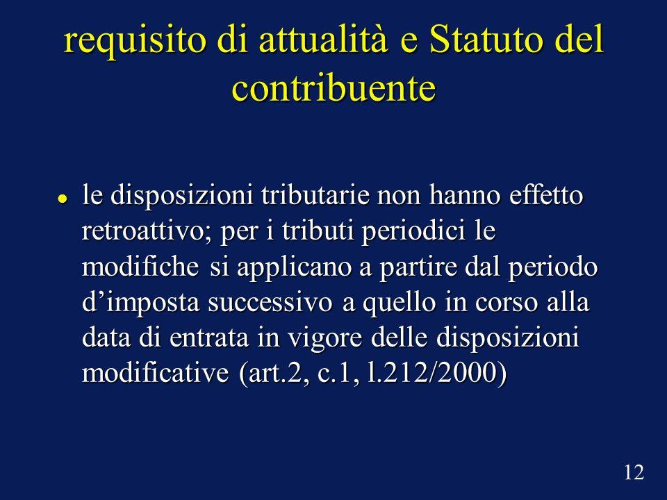 requisito di attualità e Statuto del contribuente