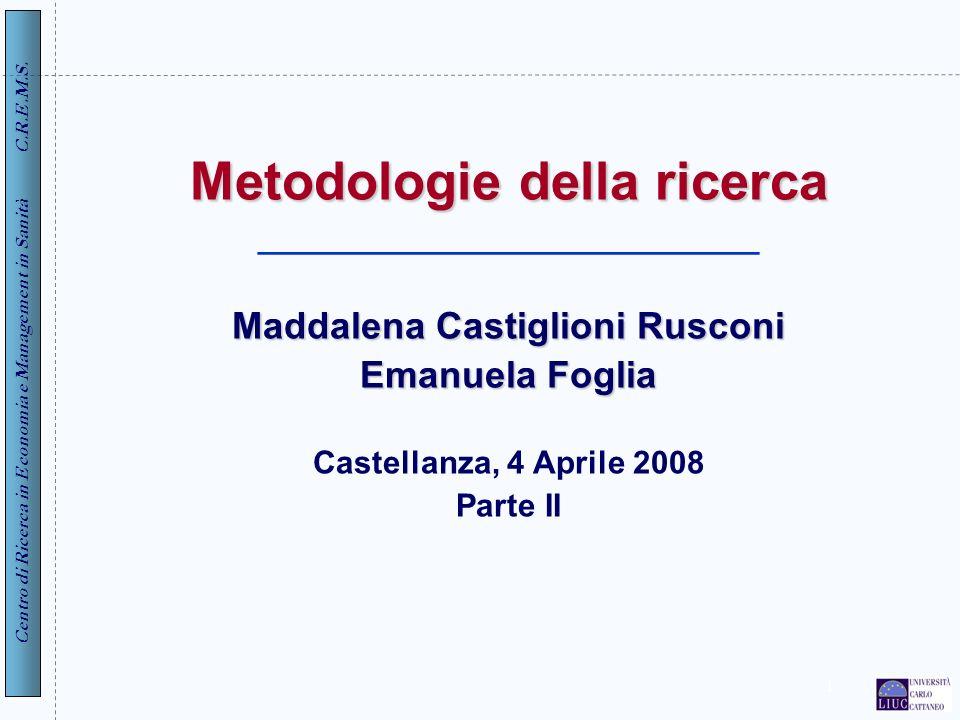 Metodologie della ricerca ____________________________ Maddalena Castiglioni Rusconi Emanuela Foglia Castellanza, 4 Aprile 2008 Parte II