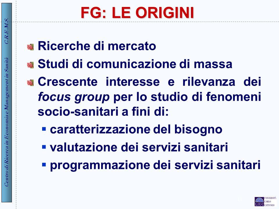 FG: LE ORIGINI Ricerche di mercato Studi di comunicazione di massa