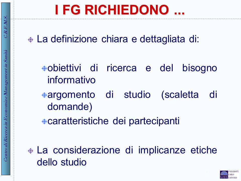 I FG RICHIEDONO ... La definizione chiara e dettagliata di: