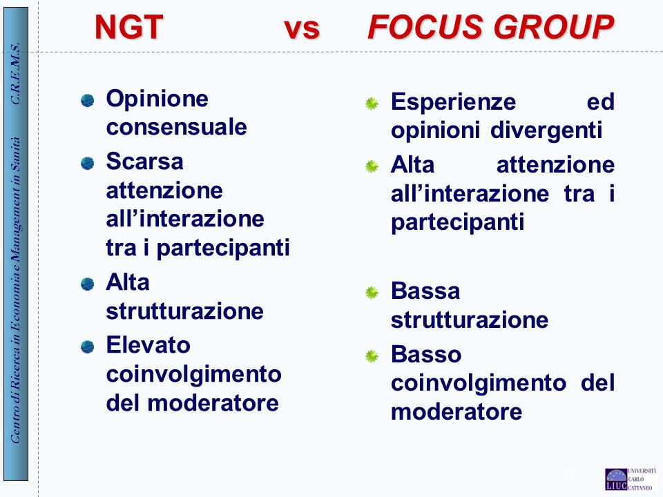 NGT vs FOCUS GROUP Opinione consensuale